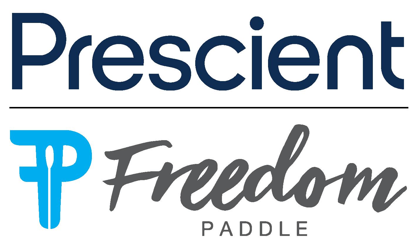 Freedom Paddle x Prescient vertical logo